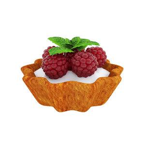 3D model tart raspberry berry