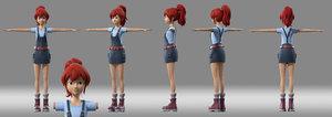 cartoon girl child student 3D model
