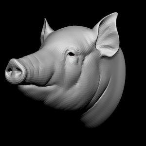 3D pig head base mesh
