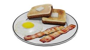 plate breakfast 3D model