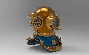3D model navy deep sea divers