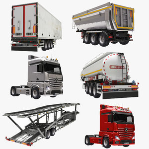 3D truck trail trailer semi