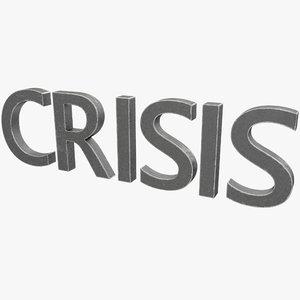 crisis lettering 3D model