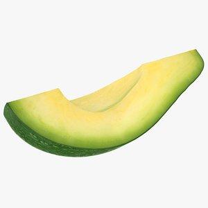 3D realistic slice avocado