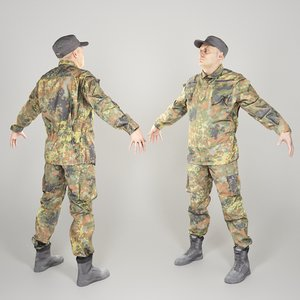3D model equipped soldier uniform a-pose