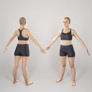 3D photogrammetry ready sporty woman