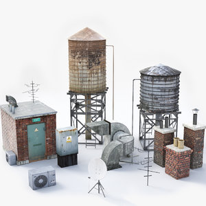 3d model rooftop watertanks chimneys