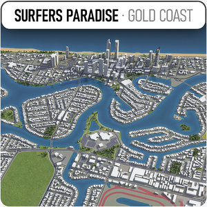 surfers paradise surrounding - 3D model