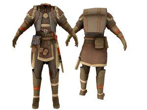 3D medieval human ranger explorer