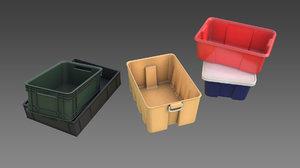3D plastic storage boxes