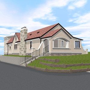 3D model house building spanish