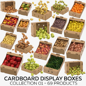 3D model cardboard display boxes 01