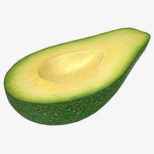 3D model realistic avocado slice