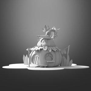 3D cartoon pumpkin house model