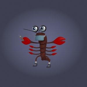 cartoon crayfish doctor model