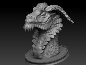 3D dragon bust model
