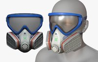 Gas mask helmet 3d model military combat fantasy