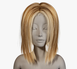 realistical short female hairstyle 3D model