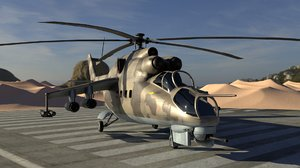 3D model mi-24 hind attack helicopter
