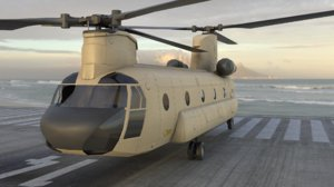 3D chinhook transport helicopter model