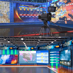 3D tv weather forecast studio set