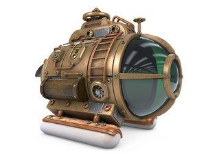 steampunk submarine steam 3D model
