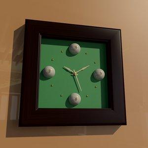 3D square billiard wall clock model