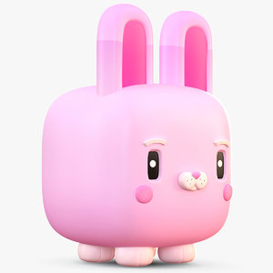 3D cute cartoon bunny rabbit model