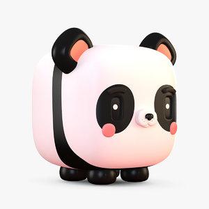 cute cartoon panda bear 3D model