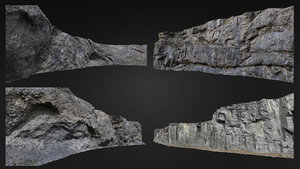 3D mountaine rock pack 4 model