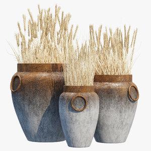 3D model argetile rustic planters