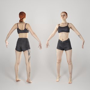 photogrammetry woman a-pose 3D model