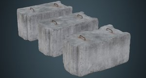 concrete barrier 5c 3D model