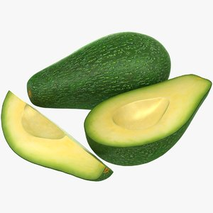 3D realistic avocado slices model