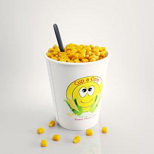 cup corn 3d model