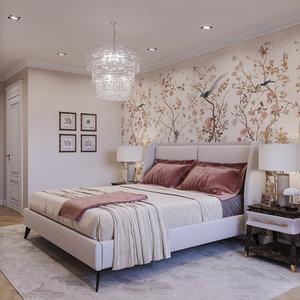 3D interior neoclassic bedroom 08