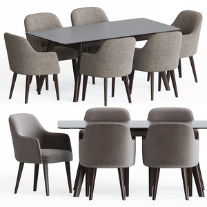 3D dining set 59 armchair table model