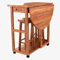folding wooden living room 3D model