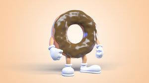 3D donut man character