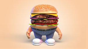 3D burger character man model