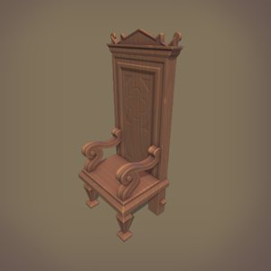 3D gothic walnut chair model