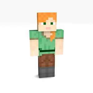 3D 1 minecraft rigged girl