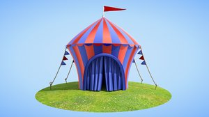 cartoon circus tent 3D