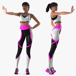 3D fitness instructor rigged