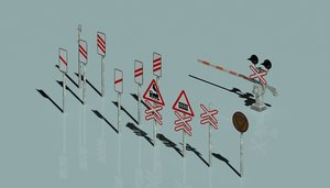 old railway crossing 3D model