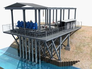 3D agricultural pumping station model