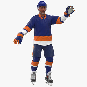3D hockey player blue rigged model