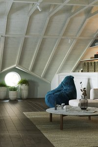 3D attic room interior scene
