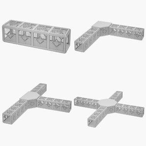 highpoly sci-fi corridor 3D model