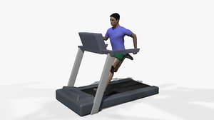man running treadmill animation 3D